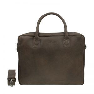 DSTRCT Fletcher Street Double Zipper Laptop Bag Brown