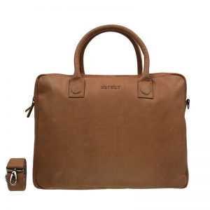 DSTRCT Fletcher Street Double Zipper Laptop Bag Cognac
