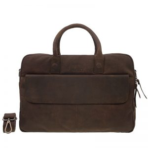 DSTRCT Wall Street 17'' Laptop Bag Double Zipper Mid Brown