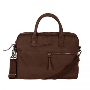 DSTRCT Wall Street Business Bag Double Zipper Brown