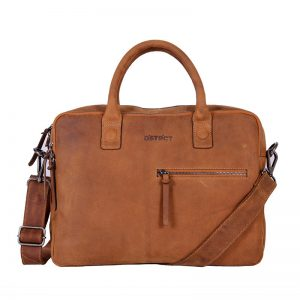 DSTRCT Wall Street Business Bag Double Zipper Cognac