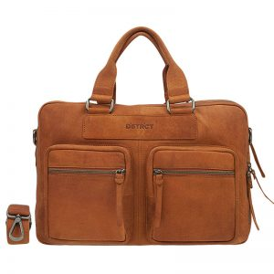 DSTRCT Wall Street Double Zipper 15'' Laptop Bag Cognac