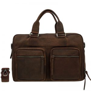 DSTRCT Wall Street Double Zipper 15'' Laptop Bag Mid Brown