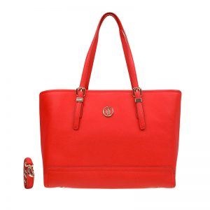 Tommy Hilfiger Honey Medium Tote Fiery Red