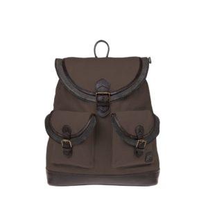 Monbeki Canvas Backpack Bruin / Leren Kleppen