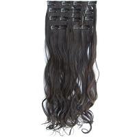 Brazilian Clip in hairextensions 7 set wavy bruin