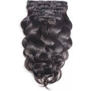 8. Clip In Hairextensions zwart 55 60cm golvend